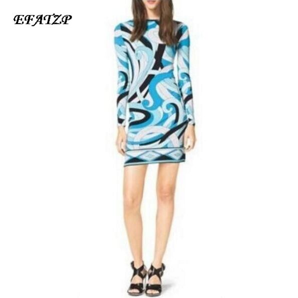 2015 Autumn Luxurious Spandex Dress Women s Colorful Abstract Geometric Print Long Sleeve Plus Size XXL