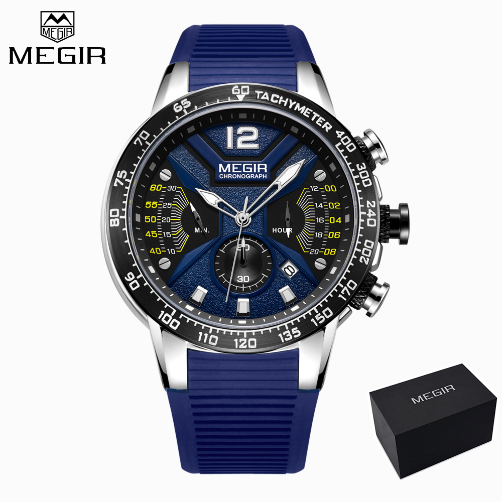 Relogio Masculino MEGIR Men Watches Blue Silicone Sport Chronograph Quartz Military Watch Luxury Brand Gift Box Erkek Kol SaatiRelogio Masculino MEGIR Men Watches Blue Silicone Sport Chronograph Quartz Military Watch Luxury Brand Gift Box Erkek Kol Saati