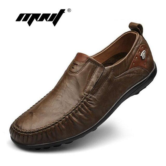 Ручной мужчины ботинок квартир плюс размер мокасины Мокасины из натуральной кожи повседневная обувь для вождения, Мягкие и дышащие мужчины обувь