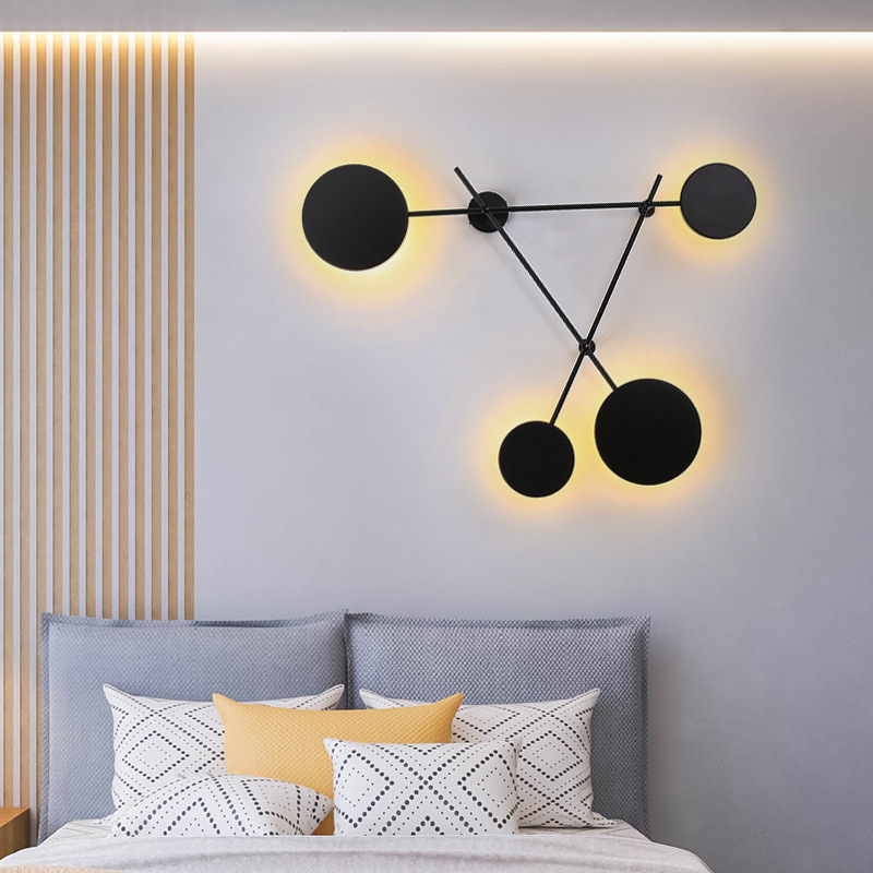 Nordic Geometric Led Wall Lamp Modern Living Room Simple Round Bedroom Bedside Wall Light Home Decor Lighting Fixtures