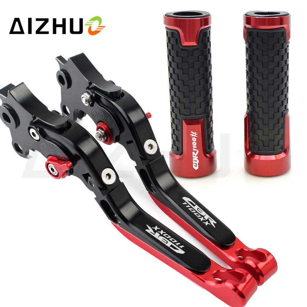 Motorcycle Clutch Brake Lever Extendable Adjustable+Handle Grips For Honda CBR1100XX CBR 1100XX 1100 XX 1997 2007 2006 2005 2004