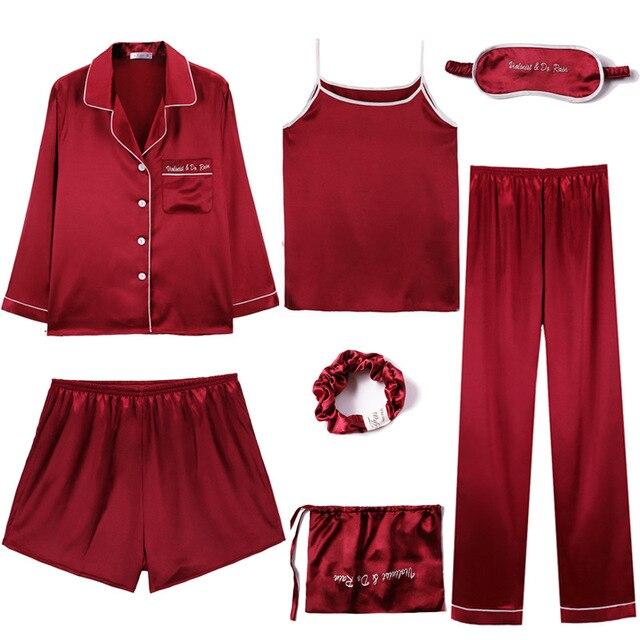 1774629461 women's silk pajamas 7 pieces sets Solid color satin woman homewear  sleepwear set pijamas Spring autumn Pyjamas Seven-piece set