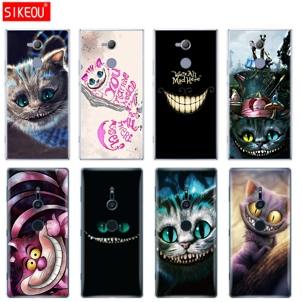 silicone Cover <font><b>phone</b></font> <font><b>Case</b></font> for sony <font><b>xperia</b></font> XA1 XA2 ULTRA PLUS <font><b>L1</b></font> L2 XZ1 XZ2 compact XZ PREMIUM cute Cheshire Cat