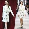 De alta calidad primavera verano 2017 runway fashion designer brand dress mujer de manga larga con volantes rebordear lindo vestidos blancos