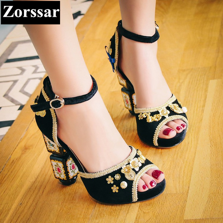 {Zorssar} Brand 2017 High quality sexy summer womens sandals peep toe High heels Ladies Wedding party Shoes plus Size 34-43 bosch pws 750 115