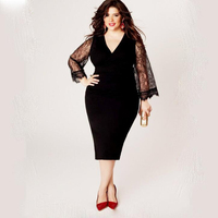 Summer plus size L 6XL women dress long sleeve v neck female lace mid dress casual hollow out women a ling dress