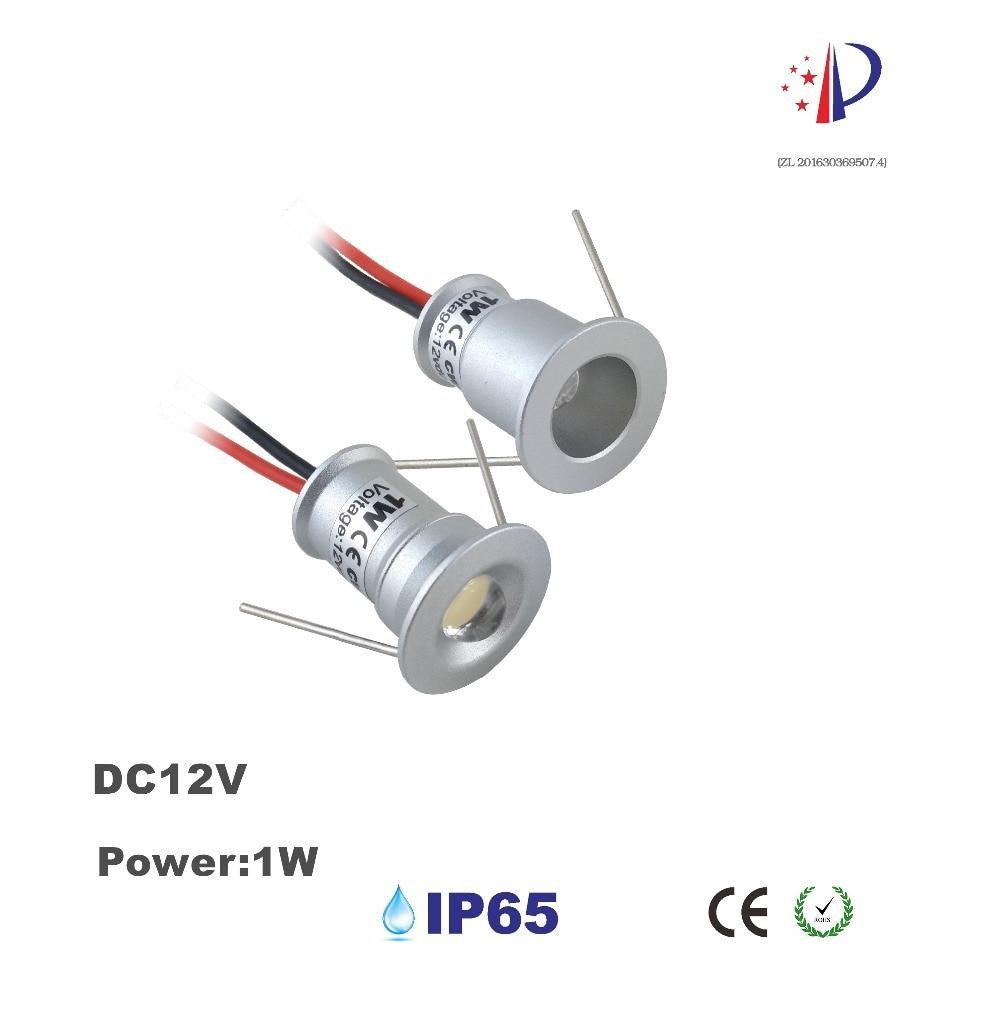 1W Mini Recessed Spotlight DC12V LED Ceiling Focos Light 15mm Cutout 30D 120D Small Downlight Cabinet