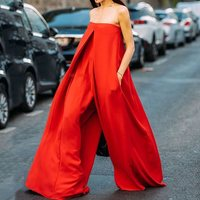 Sexy Strapless Off Shoulder Women Long Jumpsuits Overalls Streetwear Red Casual Loose Backless Wide Leg Jumpsuit Rompers Summer