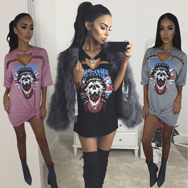Women Sexy V-neck Punk Long T Shirt Tops 2019 New Style Skeleton Pin Street Rock T-shirt Casual Tshirt Tumblr