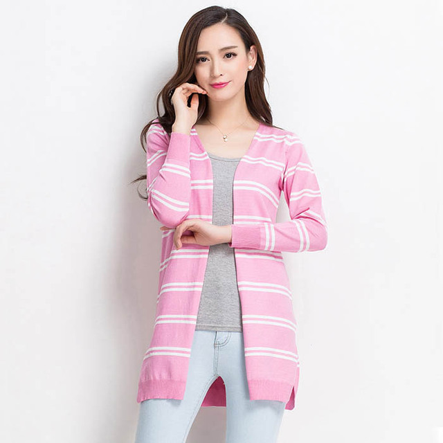 128a950c5e Women Long Sweaters Open Stitch Long Sleeve Striped Cotton Knitted Cardigan  Gray White Black Burgundy Winter Autumn Coats