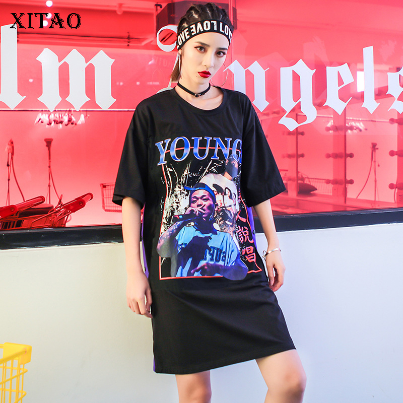 [XITAO] Street New 2018 Europe Summer Women Letter Pattern Character Print Dress Female Short Sleeve Above Knee Dress KZH2074