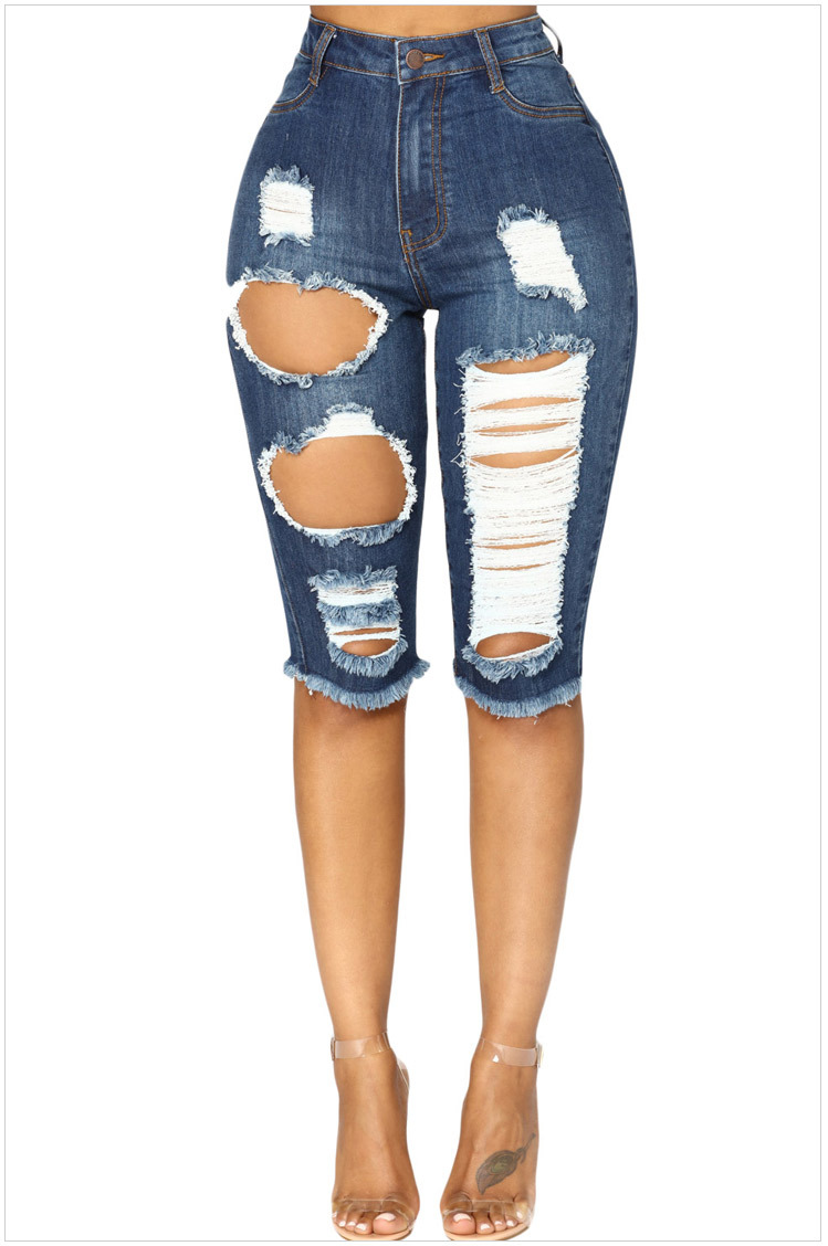 Genou Longueur Stretch Jeans Déchiré Pour Femmes Trous Plus La Taille Denim  Shorts Avec Taille Haute Jeans Femmes Femme Jean Femme f25b52cca52