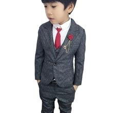 2019 New 3PCS Boys Wedding Suit Fashion England Style Boys Formal Vest Blazer Pants Suit Children Graduation Clothing Suits
