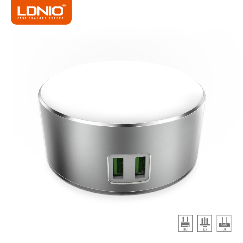 LDNIO <font><b>White</b></font> Dual Ports EU/US/UK Plug Socket Adapter <font><b>Charger</b></font> for Xiaomi Redmi 4x Travel Phone <font><b>Charger</b></font> Socket