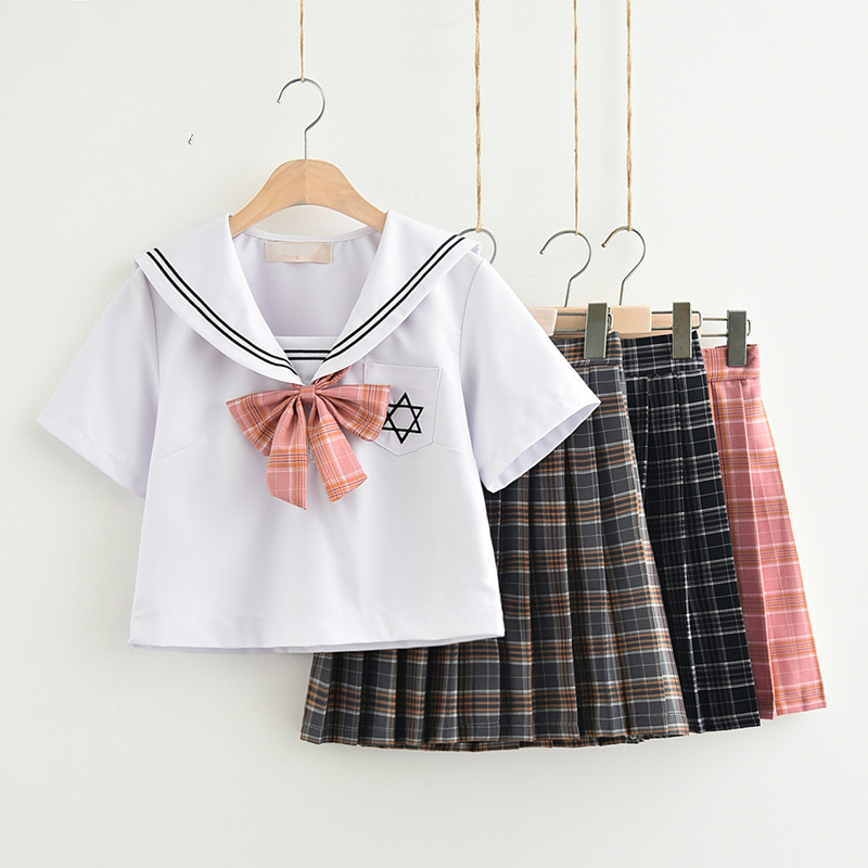 Japanese JK White Without Sailor Suit Plaid Skirt Fashion Elegant Costume School Wind Stage Performance Uniform Set