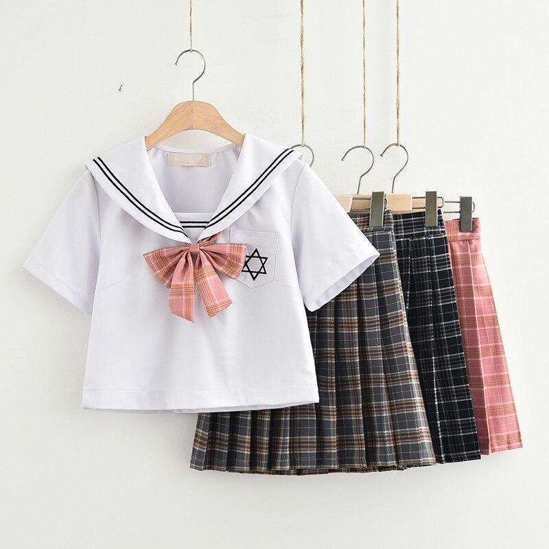 Japon JK Denizci Takım Olmadan Beyaz Ekose Etek Moda Zarif Kostüm Okul Rüzgar Sahne Performansı Okul Üniforma Set