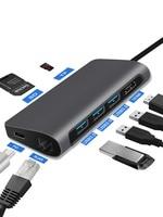 Thunderbolt3 USB HUB Type c 3.1 to HDMI 3 port USB 3.0 RJ45 VGA Adapter converter for MacBook Pro Samsung Galaxy S9 usb c hub