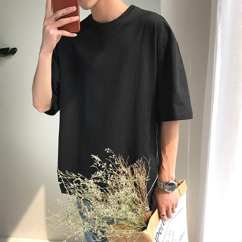 M-5XL!! 2018 Big yards été lâche bf couleur unie à manches courtes T-shirt adolescent décontracté balayage placketing top t-shirt - 3