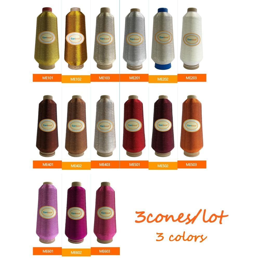 Sanbest színek rendezve 1 Fémes hímzőcérna Babylock testvér számára Janome Singer Pfaff Husqvaran Bernina gépek 125 g / kúp