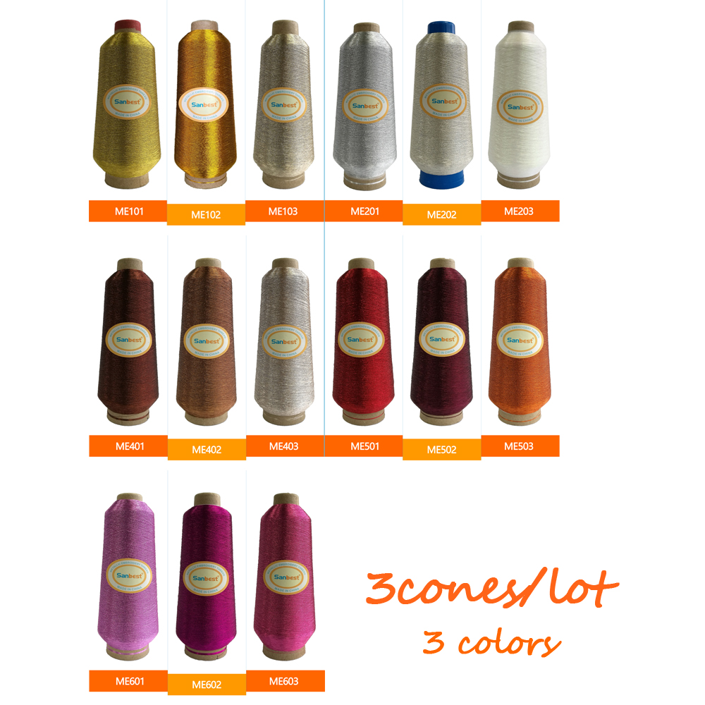 Sanbest Colors Sorted 1 Metallic Embroidery Thread for Brother Babylock Janome Singer Pfaff Husqvaran Bernina Machines 125g/Cone