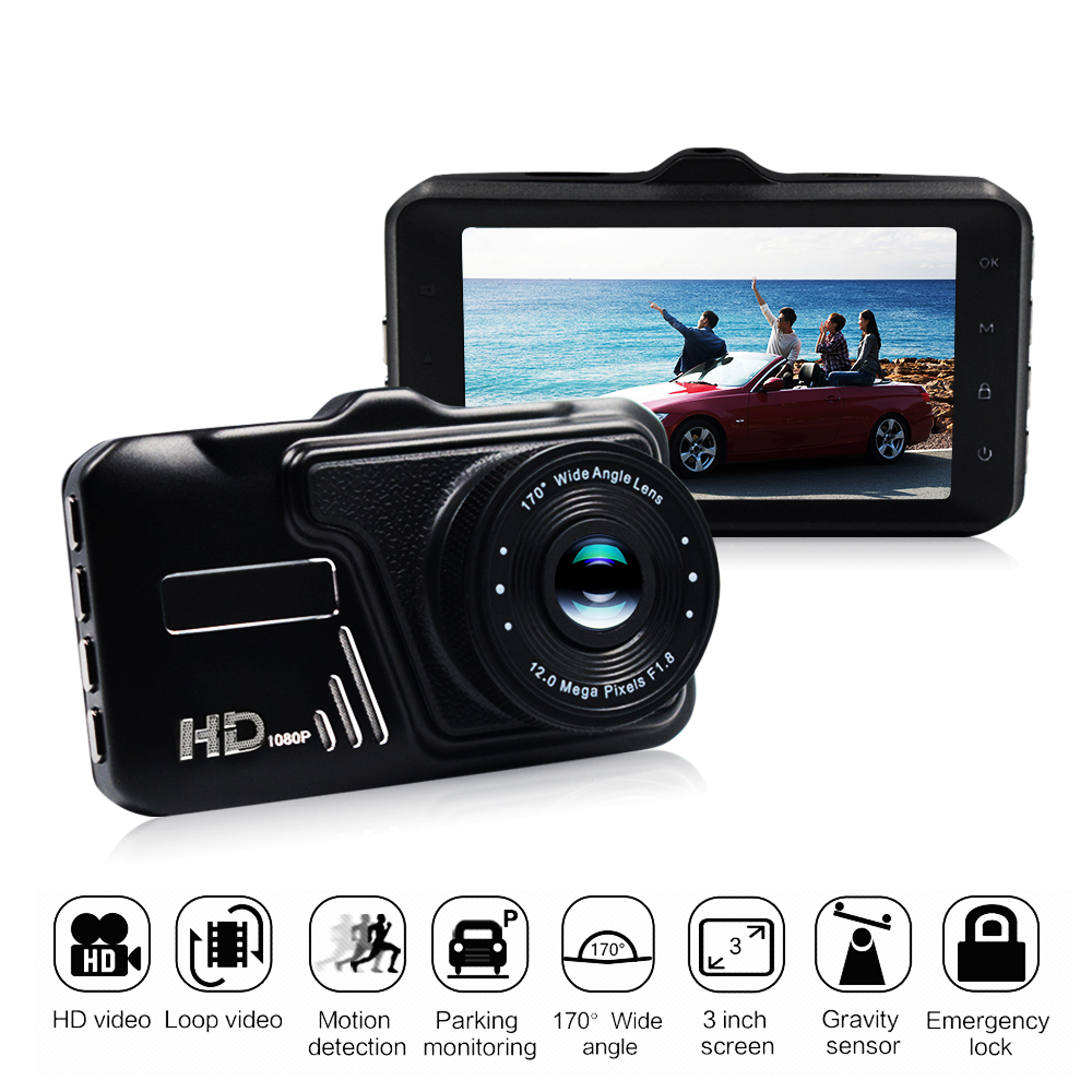 Car DVR Camera 1080P HD 170 Degree angle New 3.0 CAR DVR CAMERA Video Recorder single Camera Recorder G-sensor plusobd car recorder rearview mirror camera hd dvr for bmw x1 e90 e91 e87 e84 car black box 1080p with g sensor loop recording