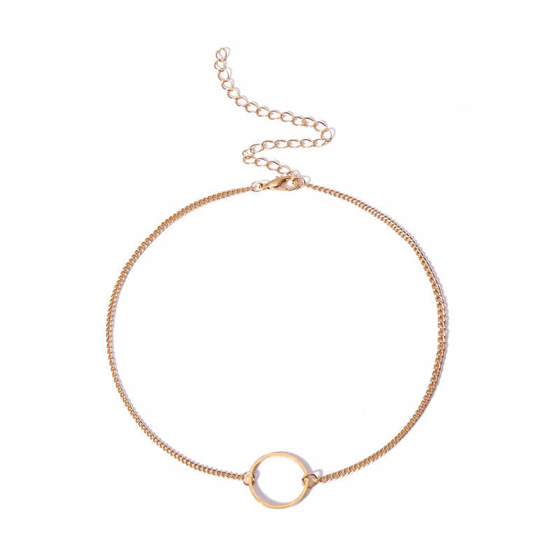 Zchlgr gargantilha colar feminino duas camadas colares redondos cor de ouro colar chocker pescoço moda conjunto