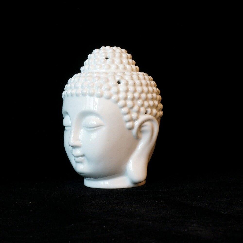 Incense & Incense Burners Ceramic Buddha Statue Oil Burner Candle Lamp Head Censer Home Decor Miniatures Aroma Burner Btransparent White Porcelain Censer Home Decor