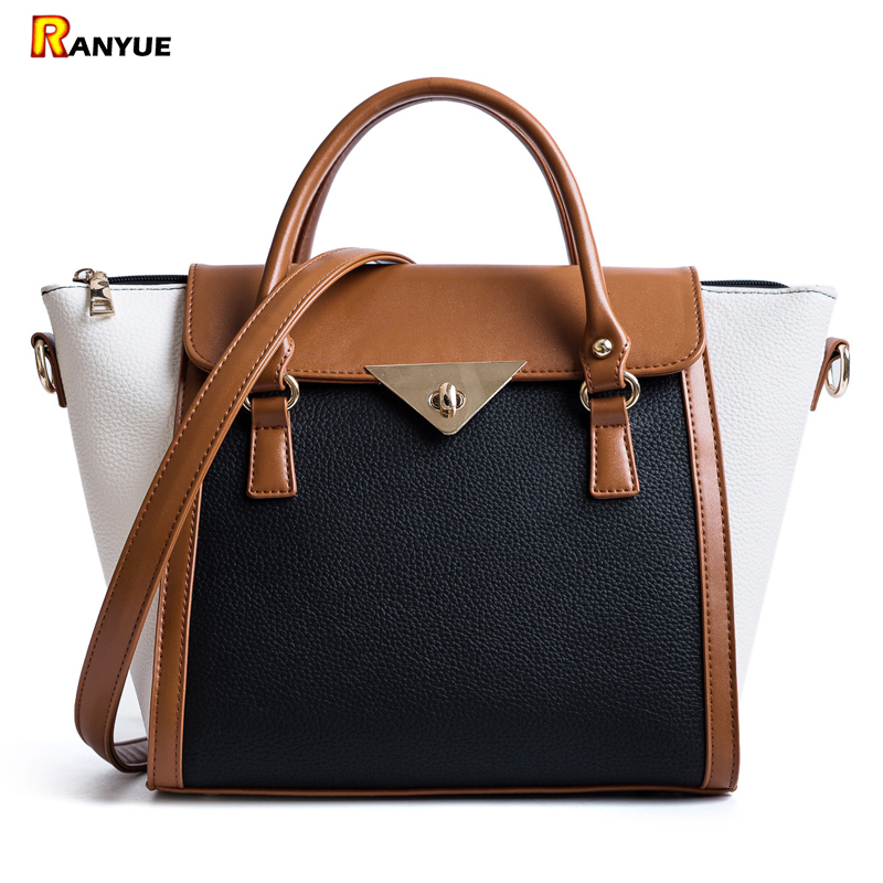 Panelled Women Bag Lock Trapeze Women Totes 2017 Luxury Leather Handbags Designer Famous Brand Women Crossbody Messenger Bags-in Top-Handle Bags from Luggage & Bags