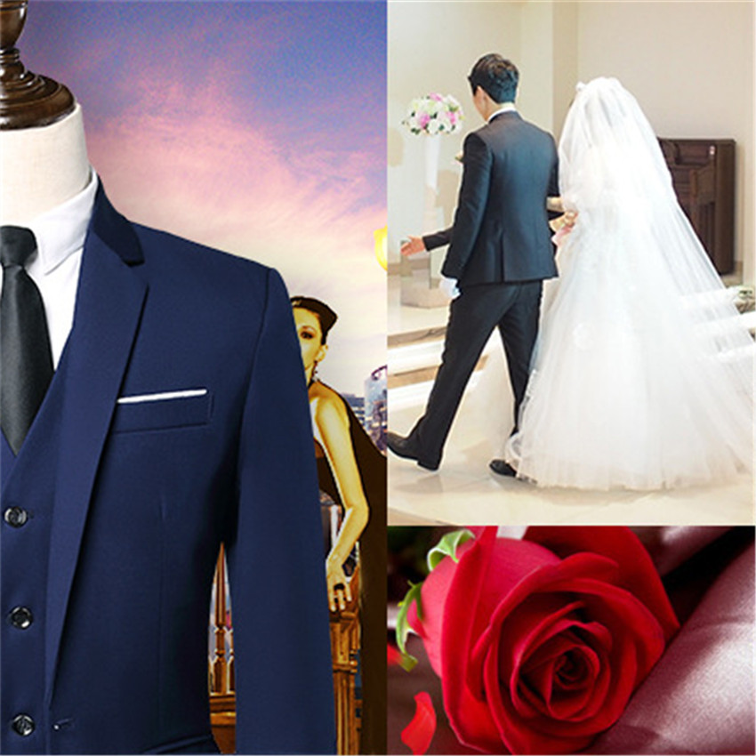 2020 personalizado fino ajuste smoking jaqueta masculino azul marinho notch lapela noivo smoking ternos homem de negócios terno jaqueta + calça + colete gravata - 5