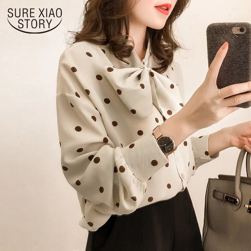 Fashion Womens tops and   Blouses   2018 Long Sleeve   Shirt   women Chiffon   Blouse     Shirt   dot print Plus Size   shirt   Feminina 1206 40