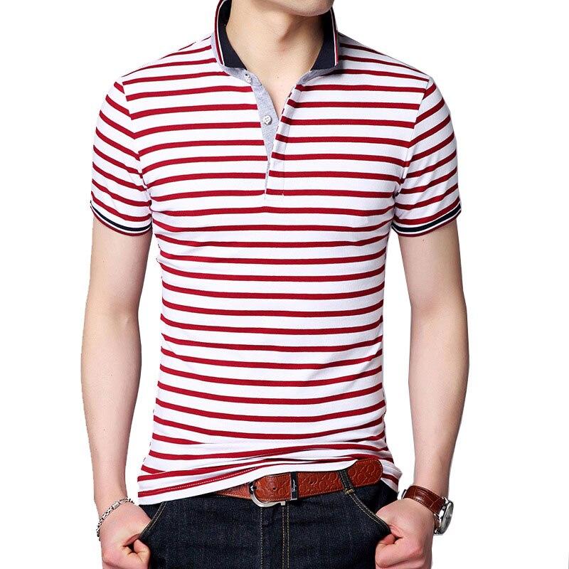 Men   Polo   Shirt 2018 Summer Men Business Casual Slim White Striped Short Sleeve Cotton   Polo   Shirts For Men