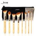 Jessup marca 8 pcs beleza de bambu pincéis de maquiagem profissional definida t139 & sacos cosméticos mulheres saco cb001
