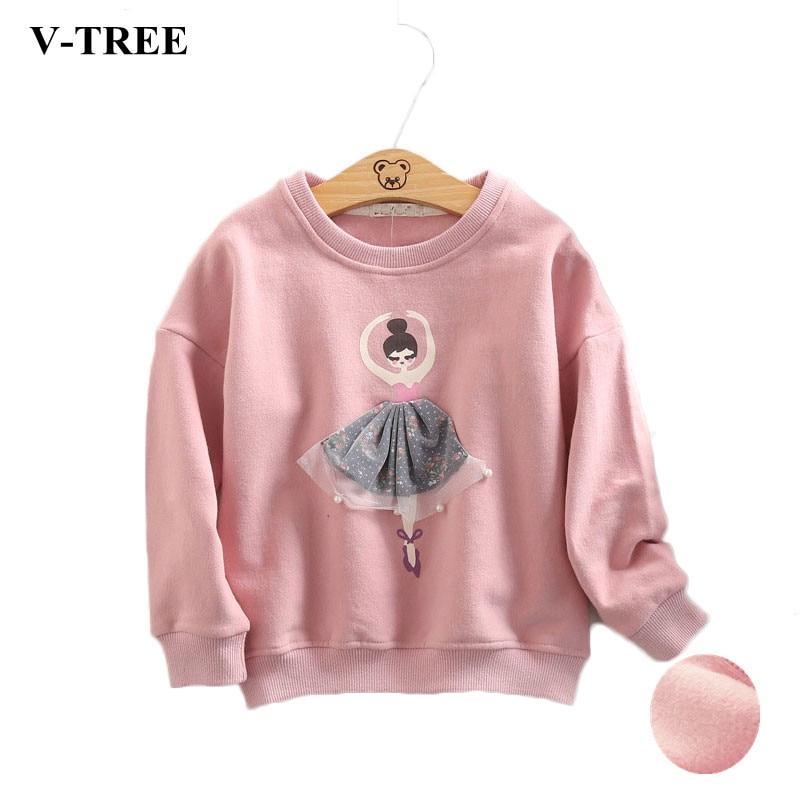 V-TREE Girls T Shirt Long Sleeve T-shirt For Girls Fashion Girls Sweatshirt Winter Children Tops Velvet Kids Tees Baby Clothing letter tree print long sleeve sweatshirt