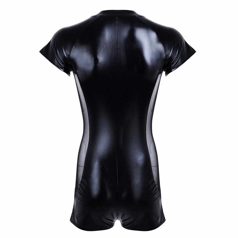 be3dfde26962 ... Wet look latex Catsuit Faux Leather Mesh Jumpsuits Black Stretch PVC Bodysuits  Sexy Clubwear Men Open ...