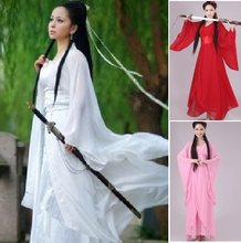 Women Kong Fu Cosplay Fairy Costume Hanfu Clothing Chinese Traditional Ancient Dress Dance Stage Cloth Classic Nv White Costume(China)