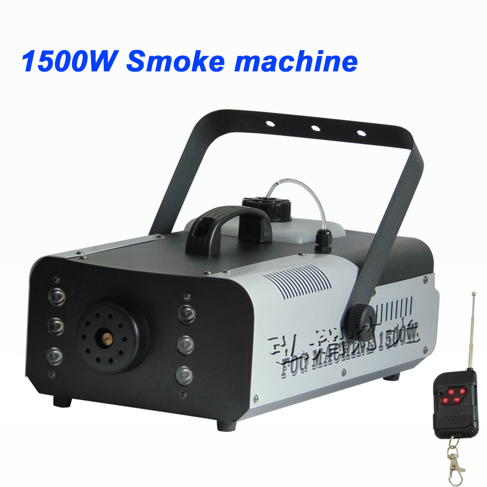 Hot sale colorful package mini 1500W Wire control fog machine pump dj disco smoke machine wedding party stage Lampblack machine