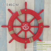 American Country 45 cm Red Rudder Wall Pendant Mediterranean Style Old Paint Stripping Helmsman Home Bar Cafe Decorations