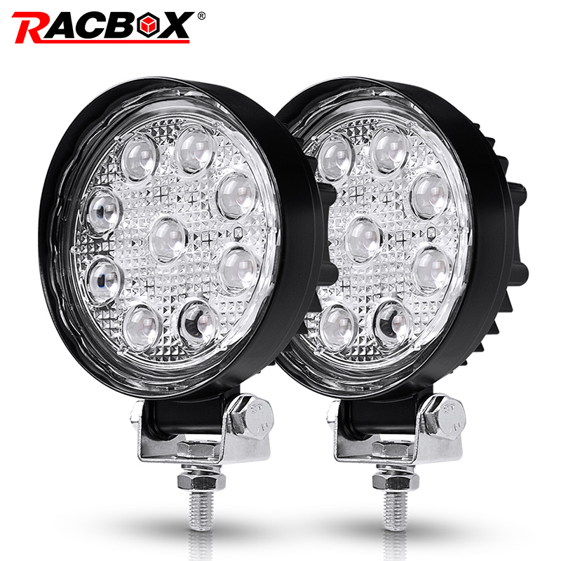 RACBOX 4 Inch 4D 27W LED Work Lights Round Type 6500K Cold White 2100LM 12V 24V Car Tractor 4x4 SUV ATV 4 LED Work Driving Lamp