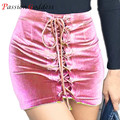 New Arrival High Waisted Skirts Womens 2016 Plus Size Bandage Bodycon Short Velvet Skirt Women Lace Up Mini Sexy Pencil Skirts