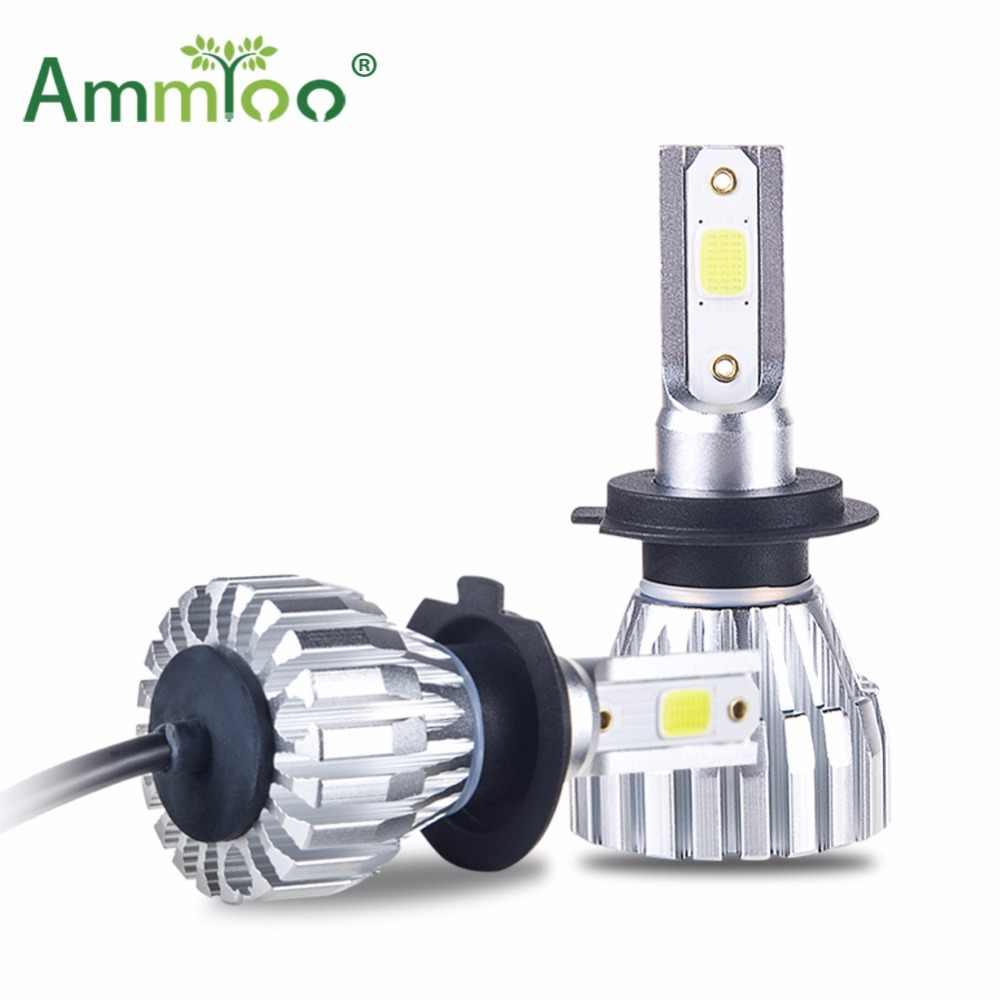 AmmToo H7 LED Car Headlight H4 Led Lamp 9005 9006 Fog light Fanless H1 H11 HB3 HB4 Motorcycle Led 5000LM Auto 4300K 6500K Bulb