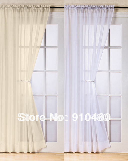 Beautiful French Door Curtain Rod Pocket Voile Panel Colored Size Customize Free Shipping