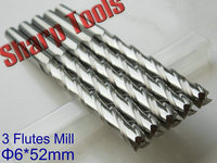 Long Endmill 6x 52MM 3 Flutes Solid Carbide Endmills Cutter CNC Router Bit Set Woodworking Milling