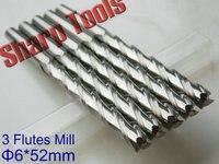 Long Endmill 6x 52MM 3 Flutes Solid Carbide Endmills Cutter CNC Router Bit Set Woodworking Milling