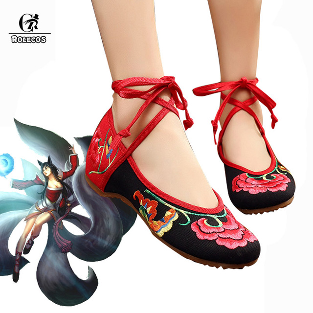 ROLECOS Game LOL Cosplay Shoes Ahri Cosplay Shoes the Nine-Tailed Fox Embroidery Women Retro Red Shoes