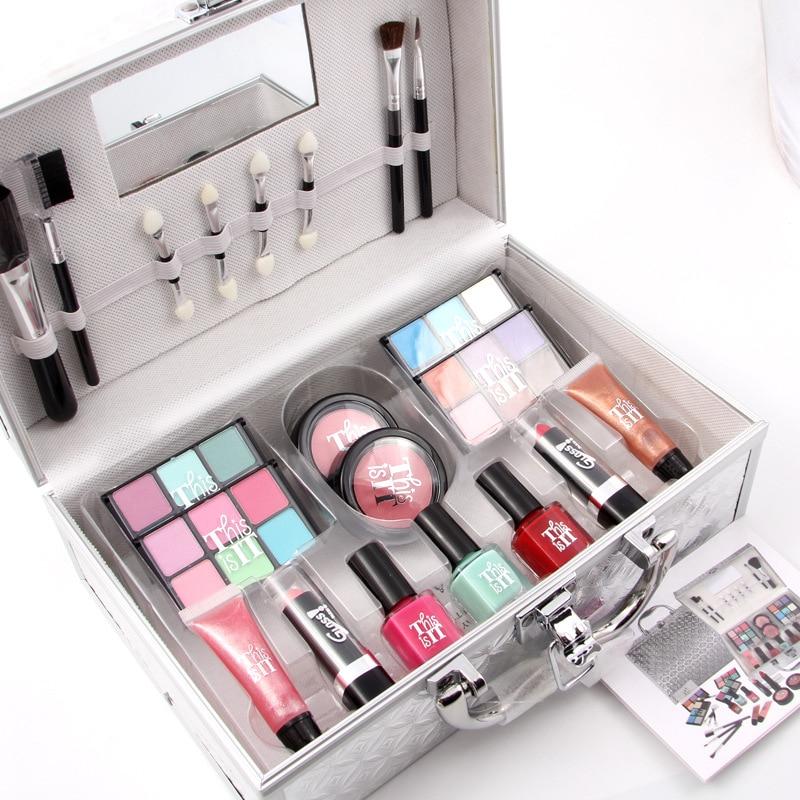 Make Up Kit 4 Groups Shimmer Matte Eyeshadow Long lasting Blush Lipstick MakeUp Palette Red Nail Polish Makeup Blush Makeup Case 12 red blush