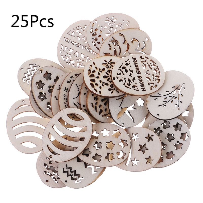 25Pcs/Bag Laser Cut Wood Embellishment Wooden Easter Egg Shape Craft Wedding Decor