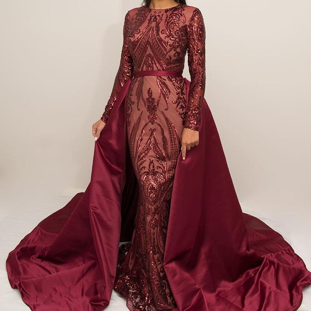 €8.8 8% de DESCUENTOSuperKimJo Burdeos vestidos de noche 88 falda  desmontable apliques de lentejuelas elegante noche moderada vestido