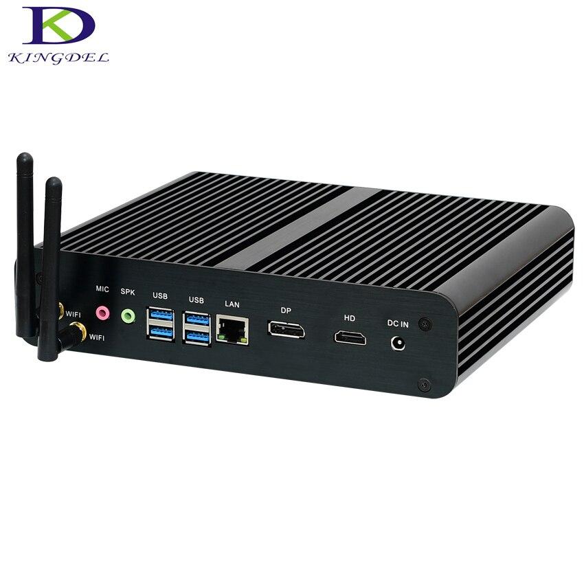 Kingdel Mini PC 6th Generation CPU Core I7 6600U 6500U Intel Nuc Fanless Mini PC Windows 10 Desktop Computer Barebone TV Box DP