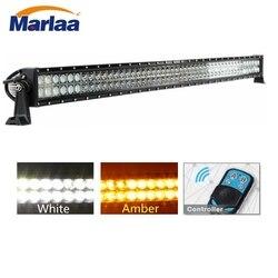 Marlaa 50 Cal światła LED Bar bursztyn biały światło Bar Combo światło stroboskopowe LED światło robocze do ciężarówki UTV 4X4 łodzi z pilot zdalnego sterowania na