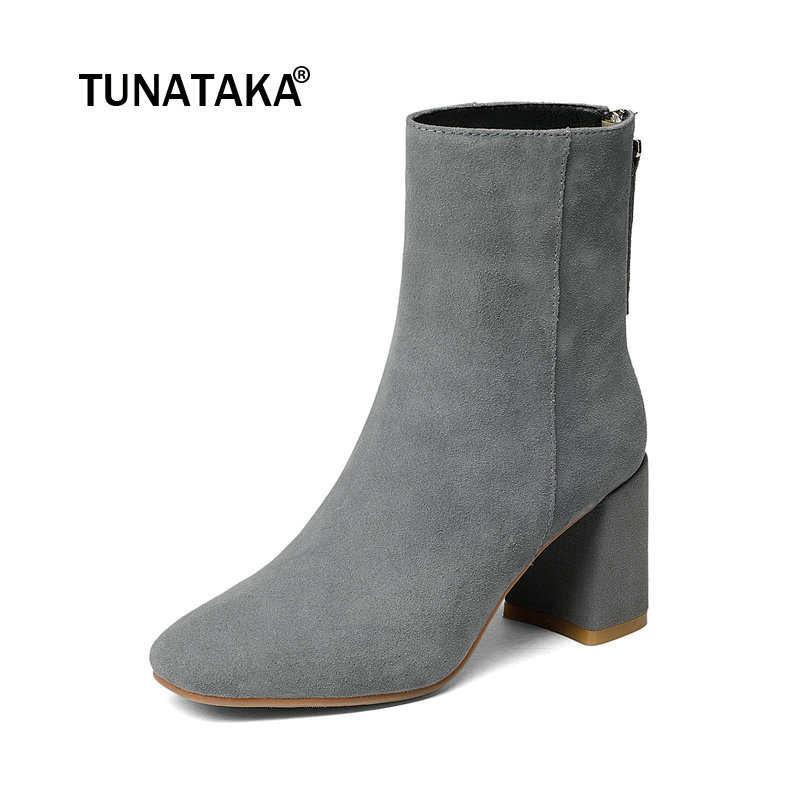Ladies Suede Comfortable Thick Heel Ankle Boots Fashion Zipper Square Toe Autumn Shoes Black Gray Brown women suede side zipper ankle boots warm comfortable low heel winter shoes black gray